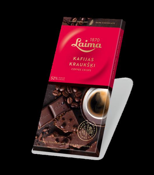 LAIMA DARK CHOCOLATE WITH COFFEE CRISPS  52%