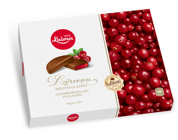 LAIMA CRANBERRY MARMALADE SLICES IN CHOCOLATE GLAZING