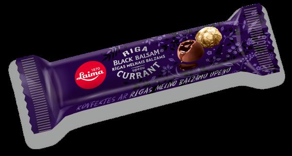 LAIMA DARK CHOCOLATE CANDIES WITH RIGA BLACK BALSAM CURRANT FILLING